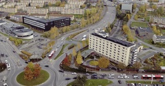 Drone shot of Manglerudhjemmet in Oslo, Norway, still Stock Footage