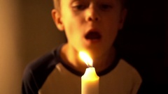 A candle and a kid Stock Footage