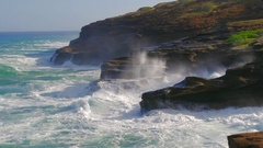 Powerful waves of ocean hitting cliff Lanai Lookout East Oahu, Hawaii Stock Footage
