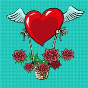 Heart with wings flying roses basket pop art comic vector Stock Illustration