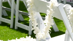 Flower lei garland of white plumeria on the chair Stock Footage