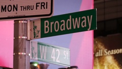 Broadway and 42 street sign at Times Square, New York City Stock Footage