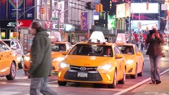 NEW YORK CITY - JANUARY 15th: Yellow Taxi Cabs Times Square, January 15th, 2017 Stock Footage
