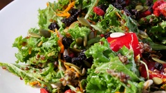 Homemade vegetarian salad on plate Stock Footage