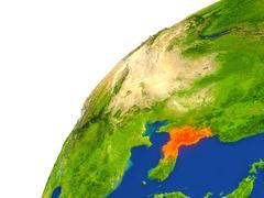 Country of North Korea satellite view Stock Illustration