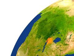 Country of Burundi satellite view Stock Illustration