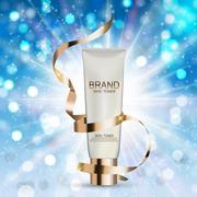 Skin Toner Bottle Tube Template for Ads or Magazine Background Stock Illustration