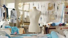 Zoom In Shot of a Tailoring Mannequin that Stands in a Bright and Sunny Studio.  Stock Footage