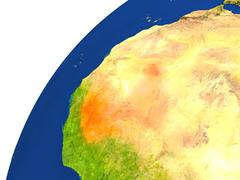 Country of Mali satellite view Stock Illustration