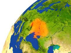 Country of Ukraine satellite view Stock Illustration