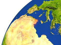 Country of Tunisia satellite view Stock Illustration