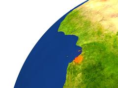 Country of Equatorial Guinea satellite view Stock Illustration