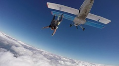Skydiving, tandem jump. Stock Footage