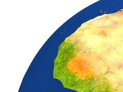 Country of Burkina Faso satellite view Stock Illustration