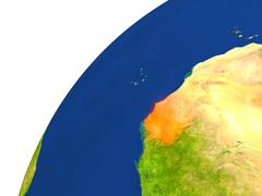 Country of Senegal satellite view Stock Illustration