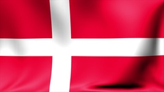 Denmark Flag. Background Seamless Looping Animation. 4K High Definition Video Stock Footage