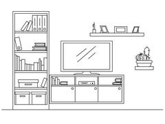 Linear sketch of the interior. Bookcase, dresser with TV and shelves. Stock Illustration