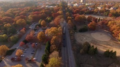 Autumn train footage in Raleigh, NC. Stock Footage