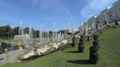 Famous Great Cascade at Peterhof park, show Central cascading fountain, many Stock Footage