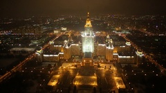 Moscow State University panoranic view Stock Footage