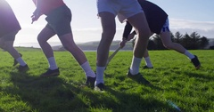 Hurling players compete for ball possession. Stock Footage