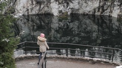 Woman Photographs the Phone on the Viewing Platform Marble Canyon Lake Stock Footage
