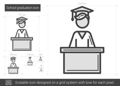 School graduation line icon Stock Illustration