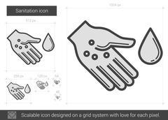 Sanitation line icon Stock Illustration