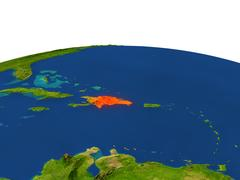 Dominican Republic in red from orbit Stock Illustration