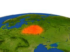 Belarus in red from orbit Stock Illustration