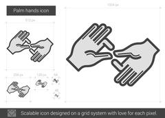 Palm hands line icon Stock Illustration
