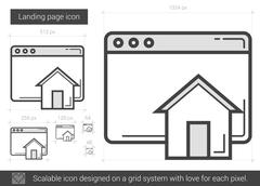 Landing page line icon Stock Illustration