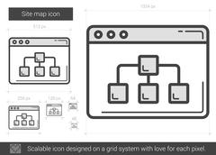 Site map line icon Stock Illustration