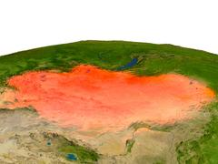 Mongolia in red from orbit Stock Illustration