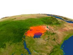 Uganda in red from orbit Stock Illustration
