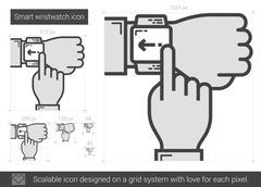 Smart wristwatch line icon Stock Illustration