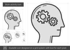 Brain activity line icon Stock Illustration