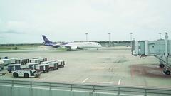 Thai Airways Passenger Plane Departs as Air Asia Plane Arrives. Changi Airpor Stock Footage