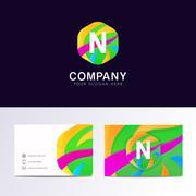 Abstract fun N letter logo sign. Flat children hexagon avatar vector design Stock Illustration
