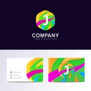 Abstract fun J letter logo sign. Flat children hexagon avatar vector design Stock Illustration