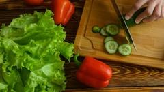 Tme-lapse of hands chopping cucumber and cooking salad, 4k vide Stock Footage
