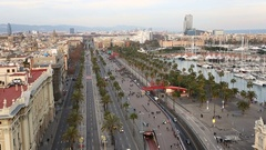 Street of Barcelona from high point Stock Footage
