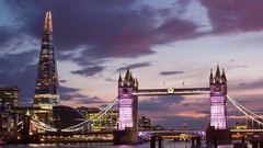 London Tower Bridge and The Shard Stock Footage
