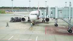 Crew Preparing to Unload Passengers from Plane at Changi Airport in Timelapse Stock Footage