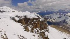 The top of Sass Pordoi peak and the valley , Dolomites, Italy Stock Footage