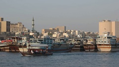 Passenger Ferry Boats on Dubai Creek, a Navigable Inlet in the City Stock Footage