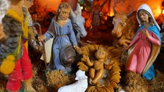 Nativity scene with hand-colored figures made out of wood Stock Footage