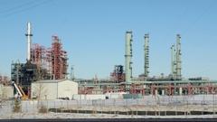 Oil Refinery in Winter Stock Footage