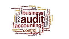 Audit animated word cloud, text design animation. Stock Footage