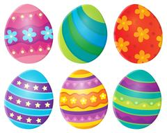 Decorated Easter eggs theme image Stock Illustration